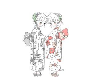 girl, twins, and illustration image