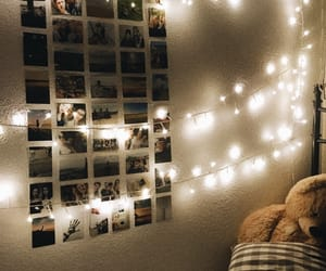 lights, teddy, and my room image