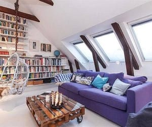 interior design, library, and living room image