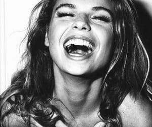 b&w, girl, and laughter image