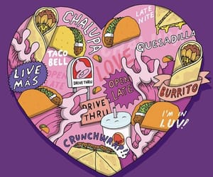 background, heart, and taco bell image