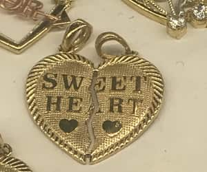 gold, heart, and sweet image