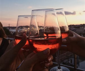 drinks, sunset, and wine image