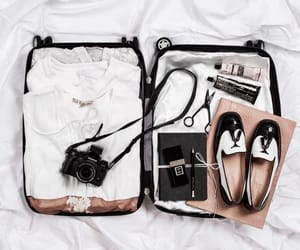 travel, shoes, and suitcase image