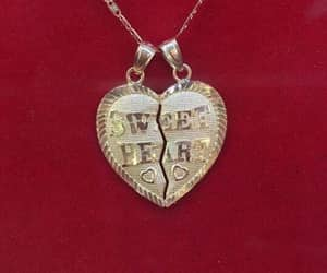 red, necklace, and heart image