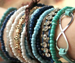 bracelet, blue, and infinity image
