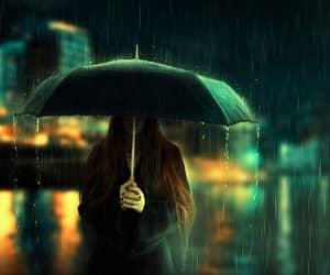 rain, girl, and umbrella image