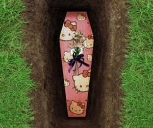 coffin and hello kitty image
