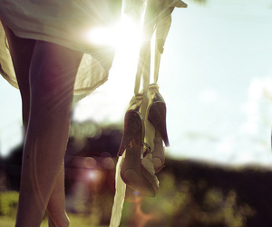 girl, shoes, and sun image