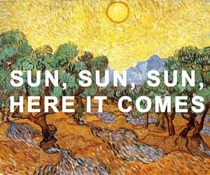 painting, here comes the sun, and music image