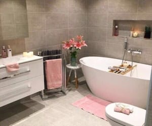 bathroom, pink, and decor image