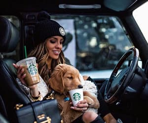 starbucks, car, and girl image