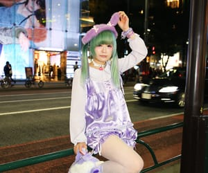 code, green hair, and street style image
