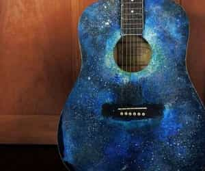 guitar, galaxy, and music image