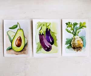 avocado, blue, and eggplant image