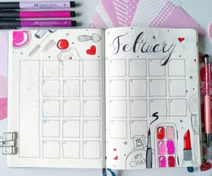 february, planner, and love image