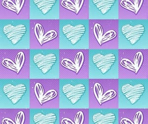 blue, hearts, and wallpaper image
