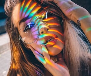 girl, beauty, and rainbow image