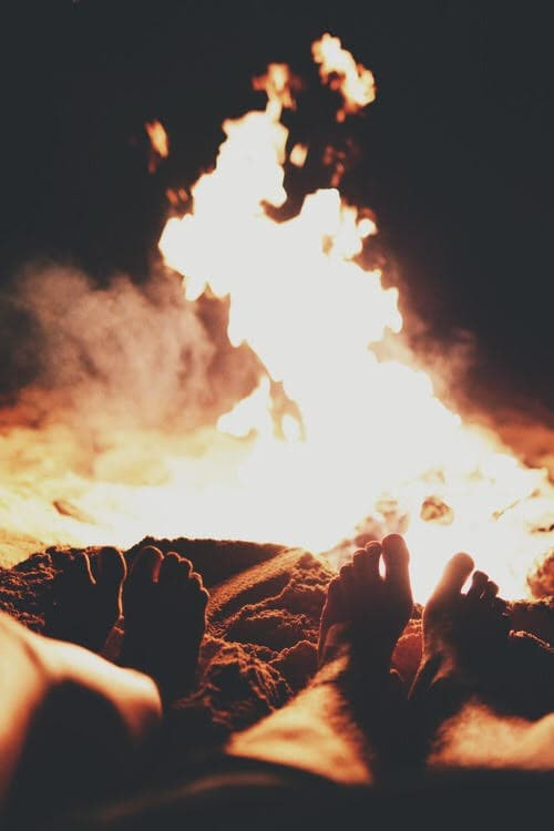 fire, couple, and summer image
