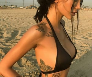 beach, mulher, and Tattoos image