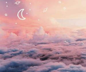 sky, gif, and moon image