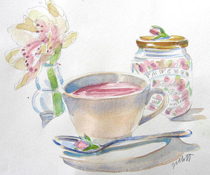 coffee, draw, and watercolor image