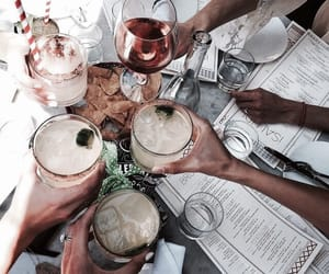 drink, food, and friends image