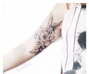 body art, floral, and blacktattoo image