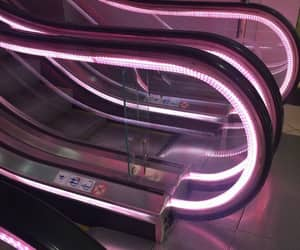 neon, pink, and escalator image