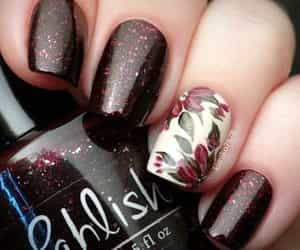 nails, nail art, and flowers image