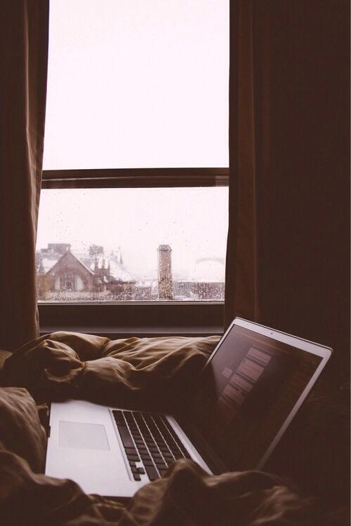 tumblr, rain, and bed image