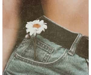 denim, fashion, and flower image