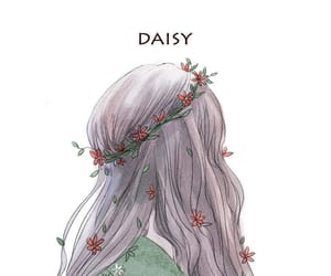 girl, art, and daisy image