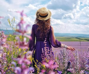 field, flowers, and hat image