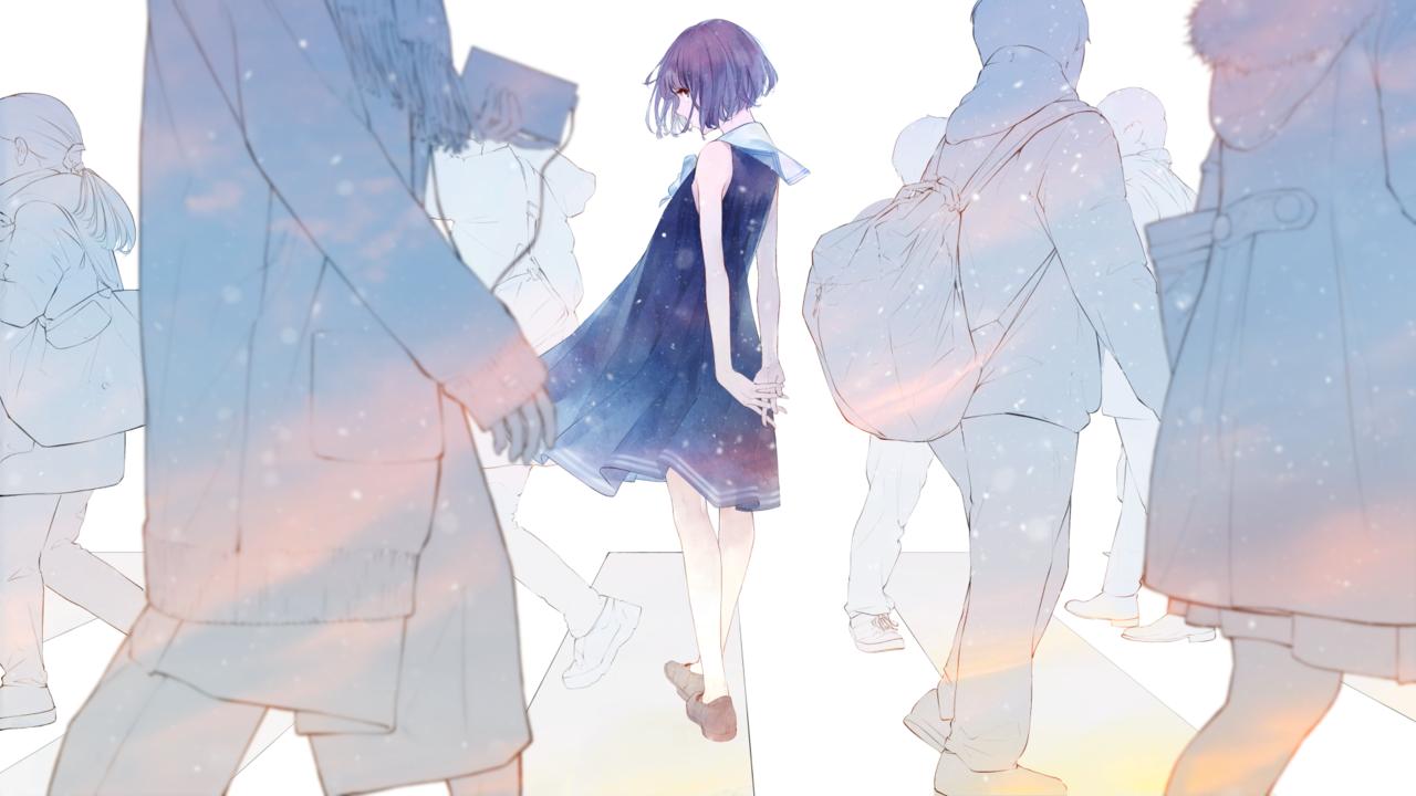 Alone Cartoon Girl anime girl art street alone kawaii on we heart it