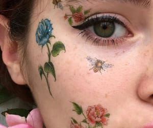 eyes, flowers, and girl image
