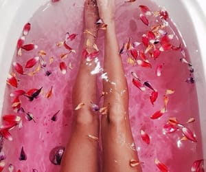 pink, bath, and flowers image