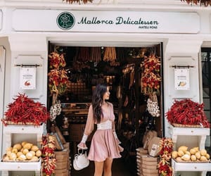 long dark hair, white heels, and palma de mallorca image