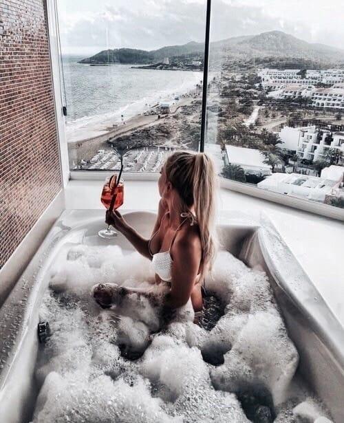 girl, bath, and drink image