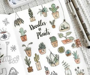 doodle, notebook, and plants image