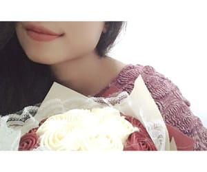asian girl, Valentine's Day, and a bunch of flowers image