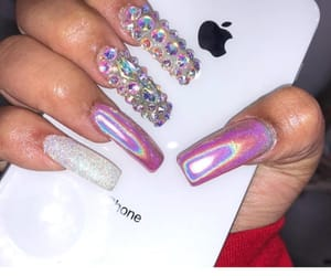 holographic, nails, and rhinestones image