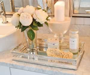 bathroom, flowers, and candle image
