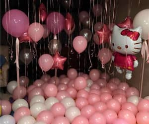 pink, balloons, and hello kitty image