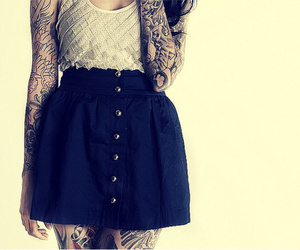 girl, outfit, and Tattoos image