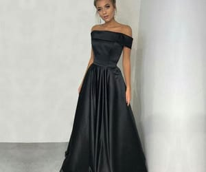 black, off the shoulder, and Prom image