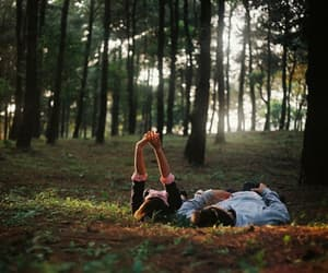 couple, forest, and green image