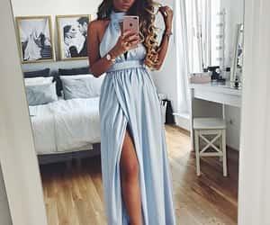 maxi dress, prom dress, and high collar image