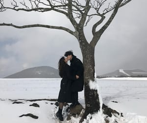 couple, korean, and snow image