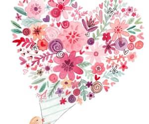 bird, love, and flowers image